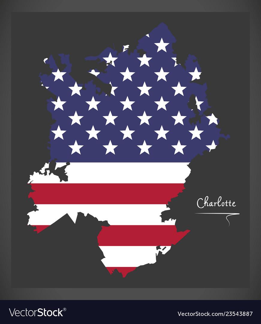 Charlotte north carolina map with american