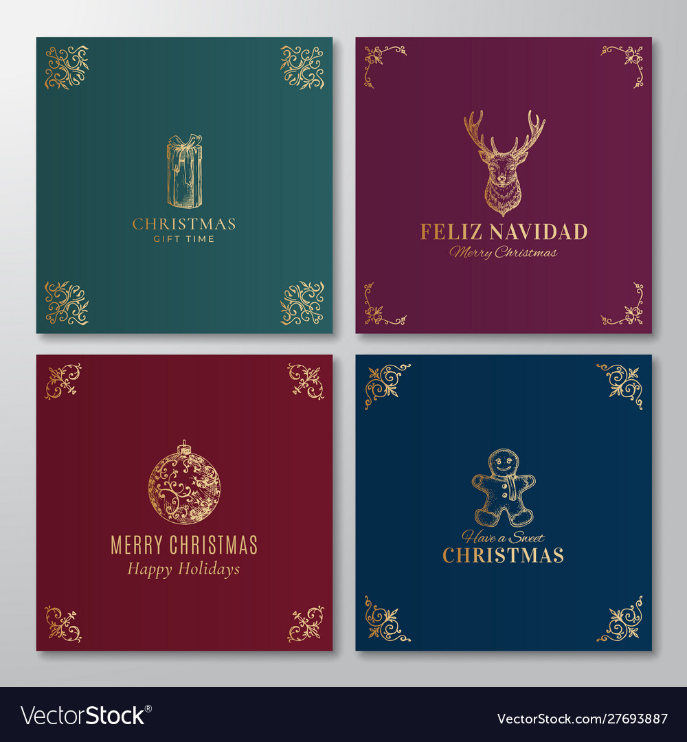 Christmas abstract labels signs or cards