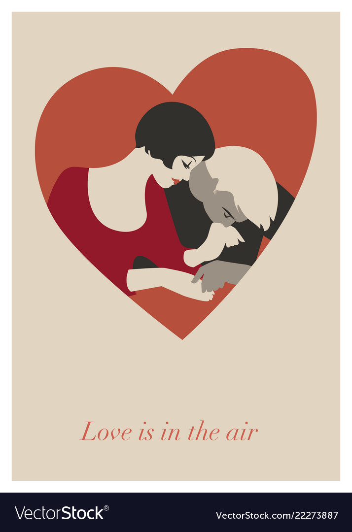 Couple of lovers in a heart valentines day card