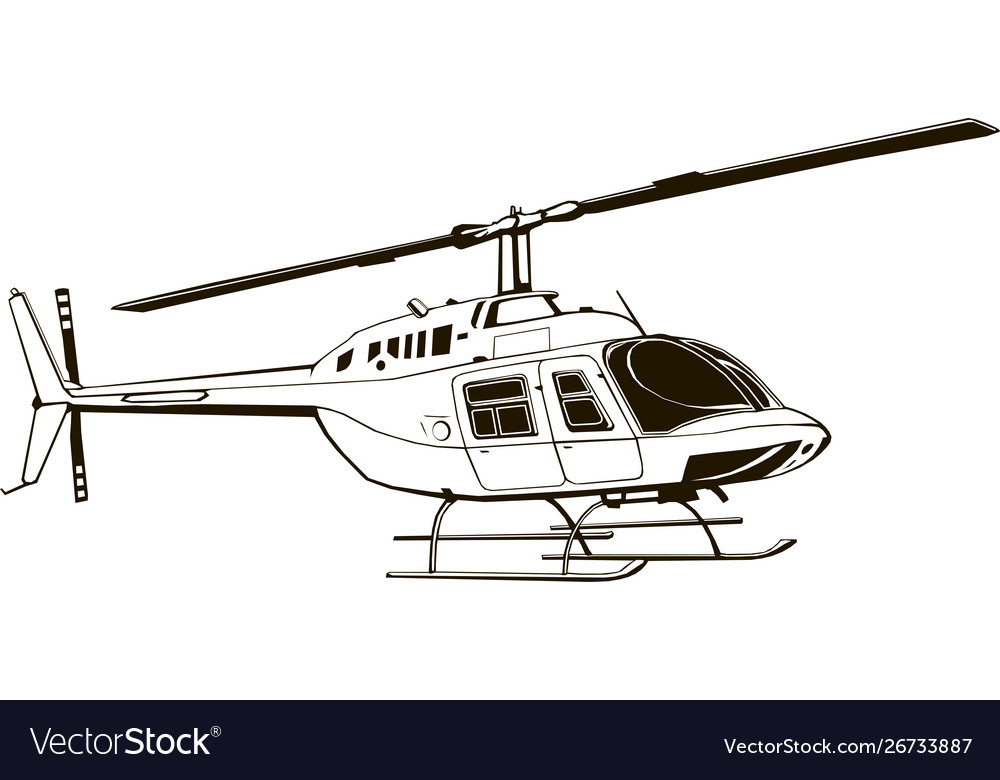Drawing Civil Helicopter Graphic Royalty Free Vector Image