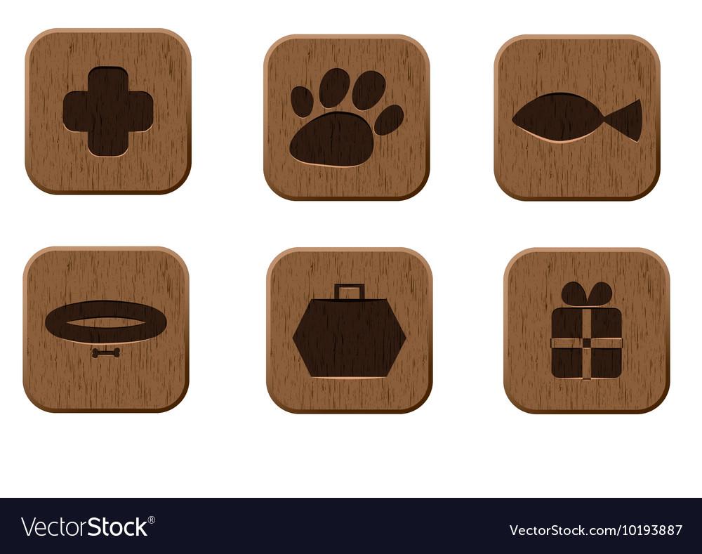 Pet shop wooden icons set