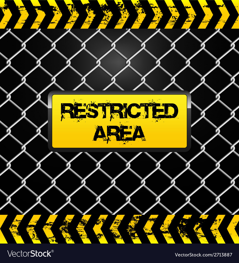 Restricted area sign - wire fence and yellow tapes