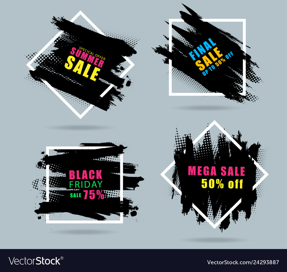 Sales banner creative design with set black