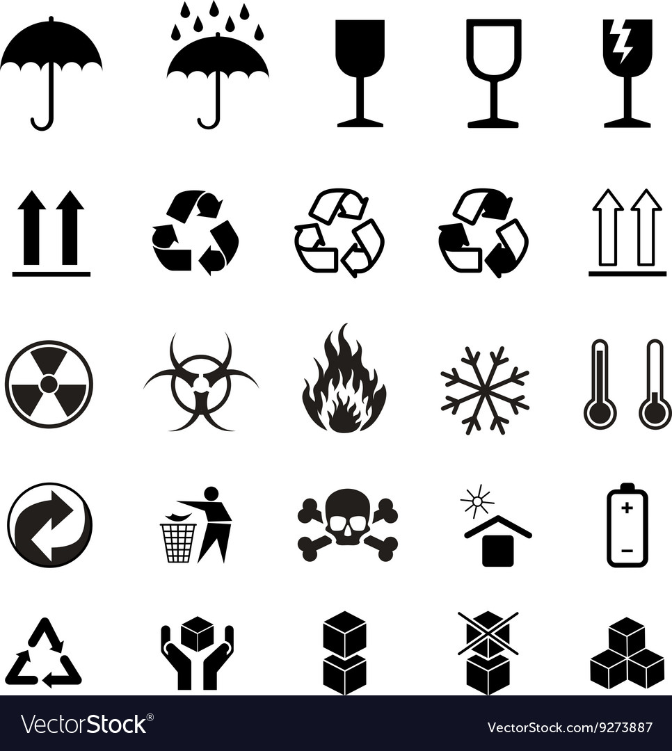 Set of different black cargo symbols on white