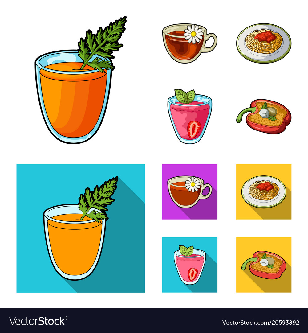 Carrot juice in a glass chamomile tea in a cup