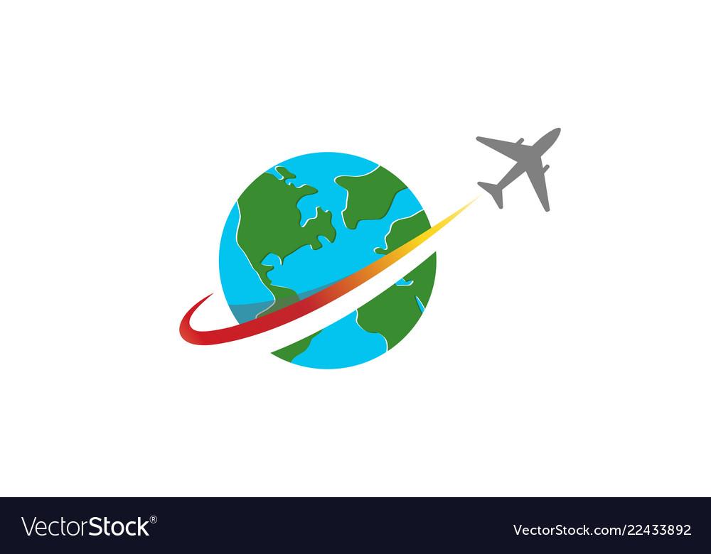Circle earth planet airplane creative logo