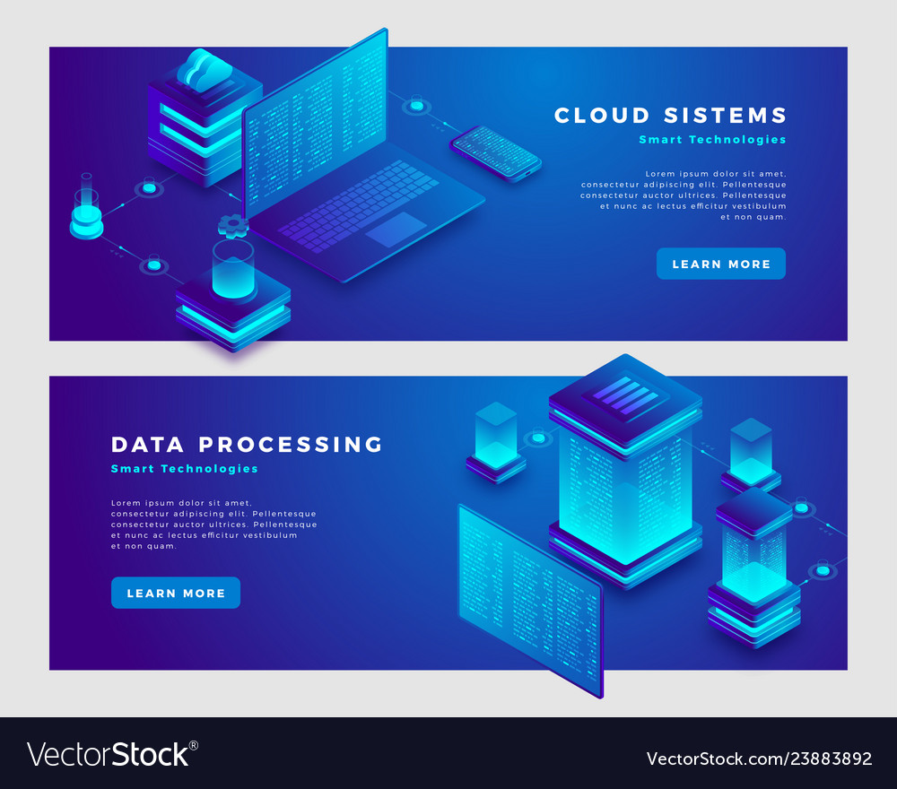 Cloud sistems and data processing concept banner