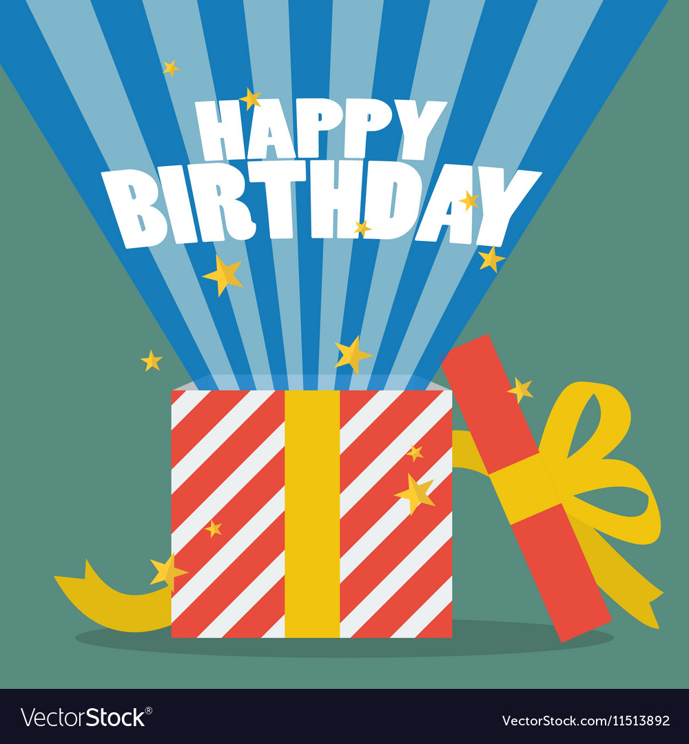 Happy birthday with a gift box vector image