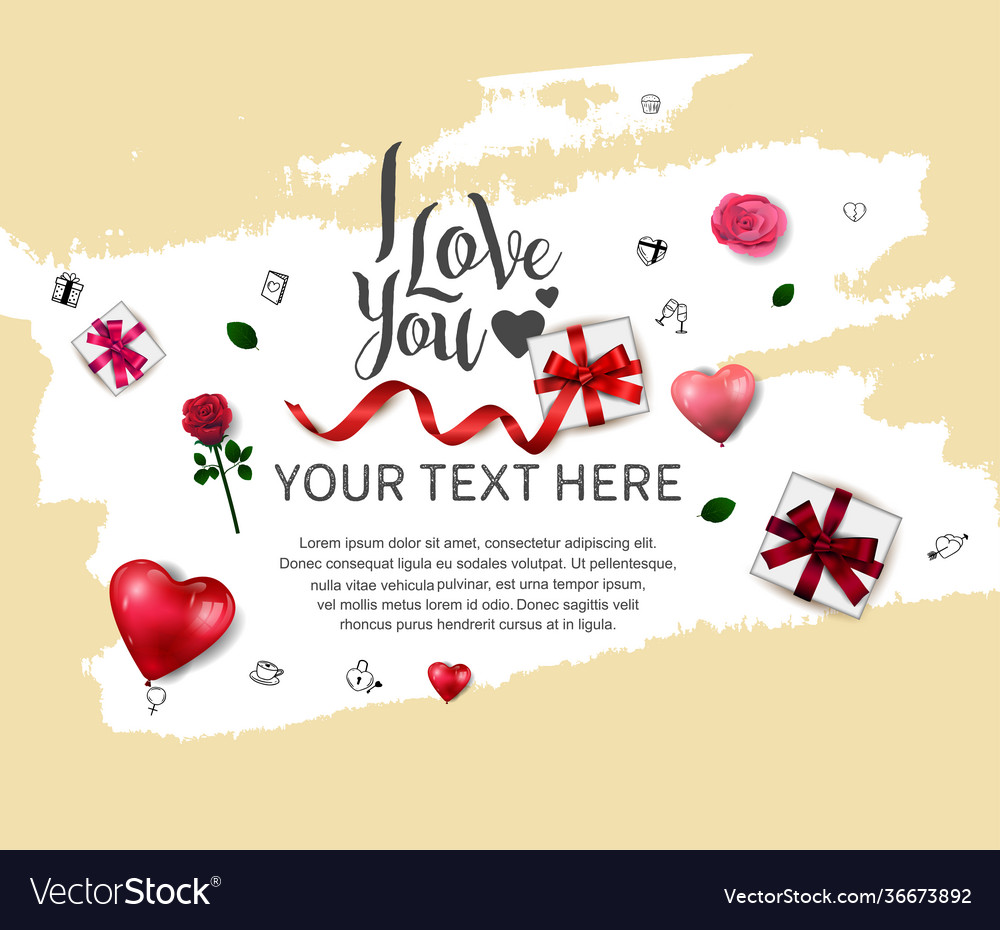 I love you design with love element white brush