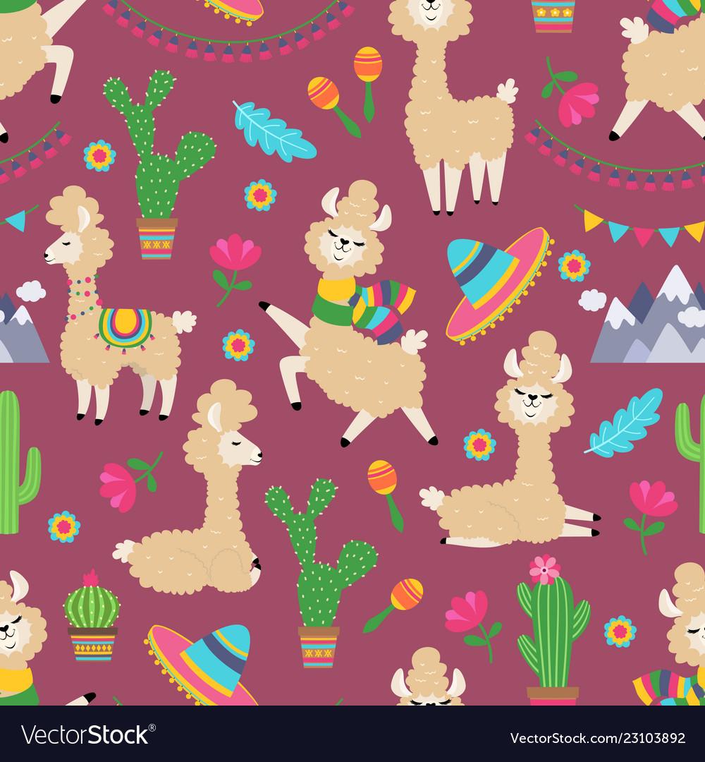Llama seamless pattern alpaca baand cactus