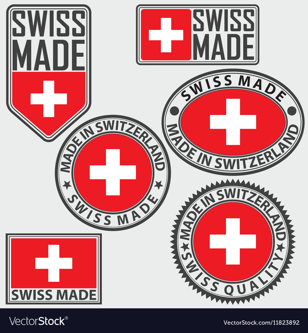 Made in switzerland label set with flag swiss made