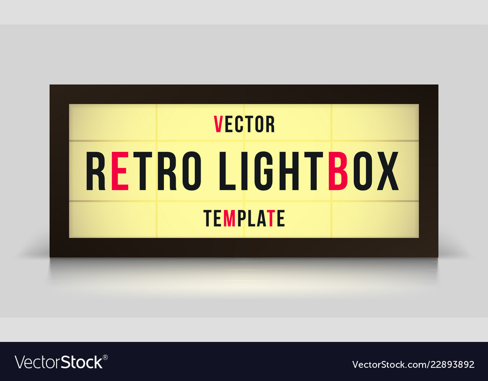marquee retro lightbox signage template royalty free vector