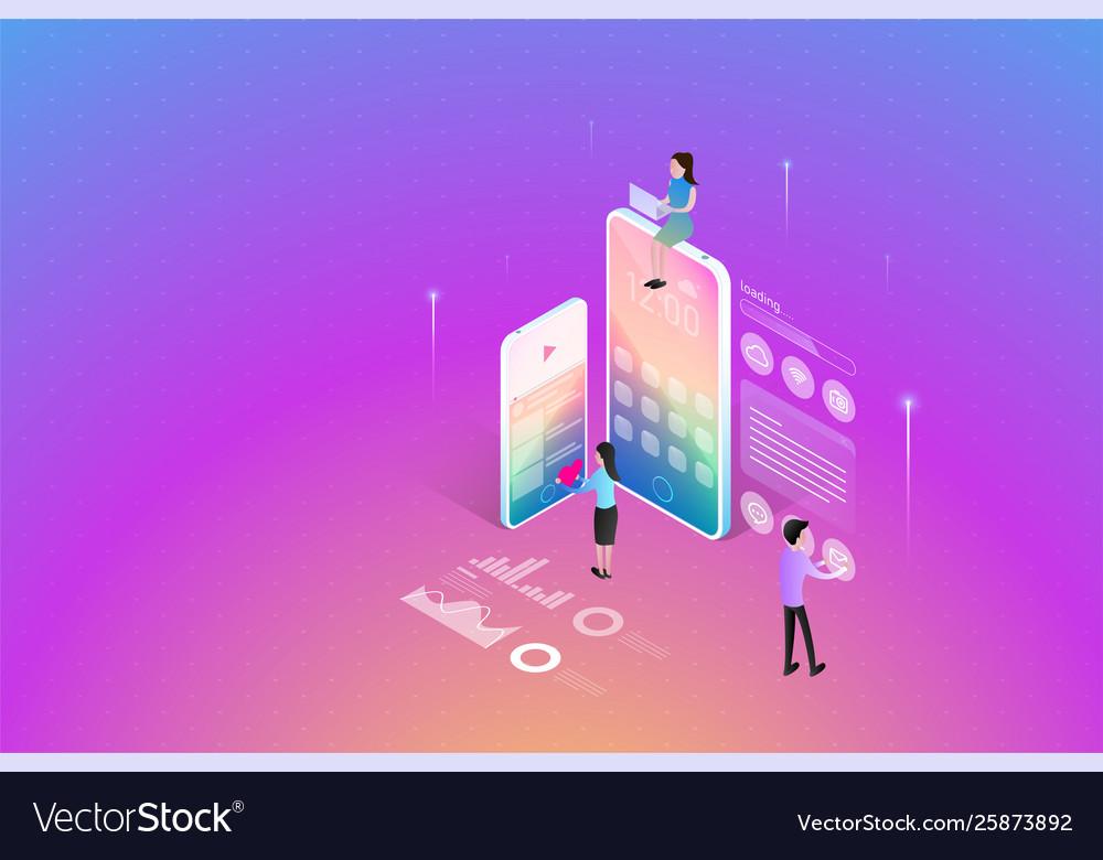 Mobile application development teamwork working