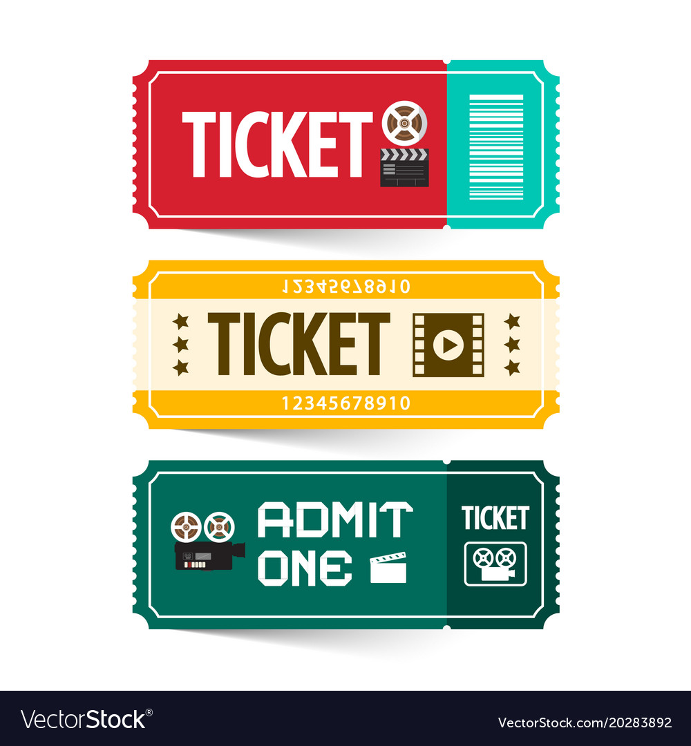 Retro paper tickets set isolated on white vector image