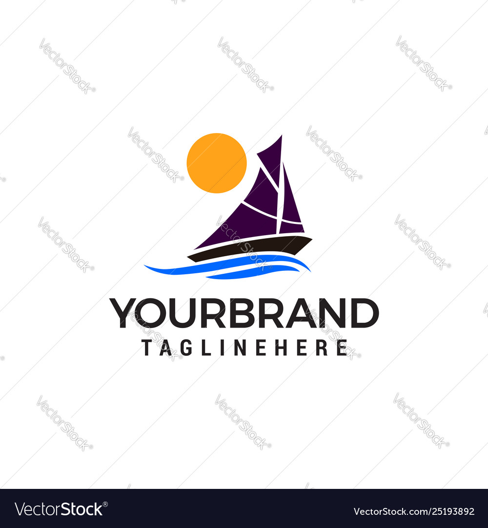 Sailing ship sun logo design concept template
