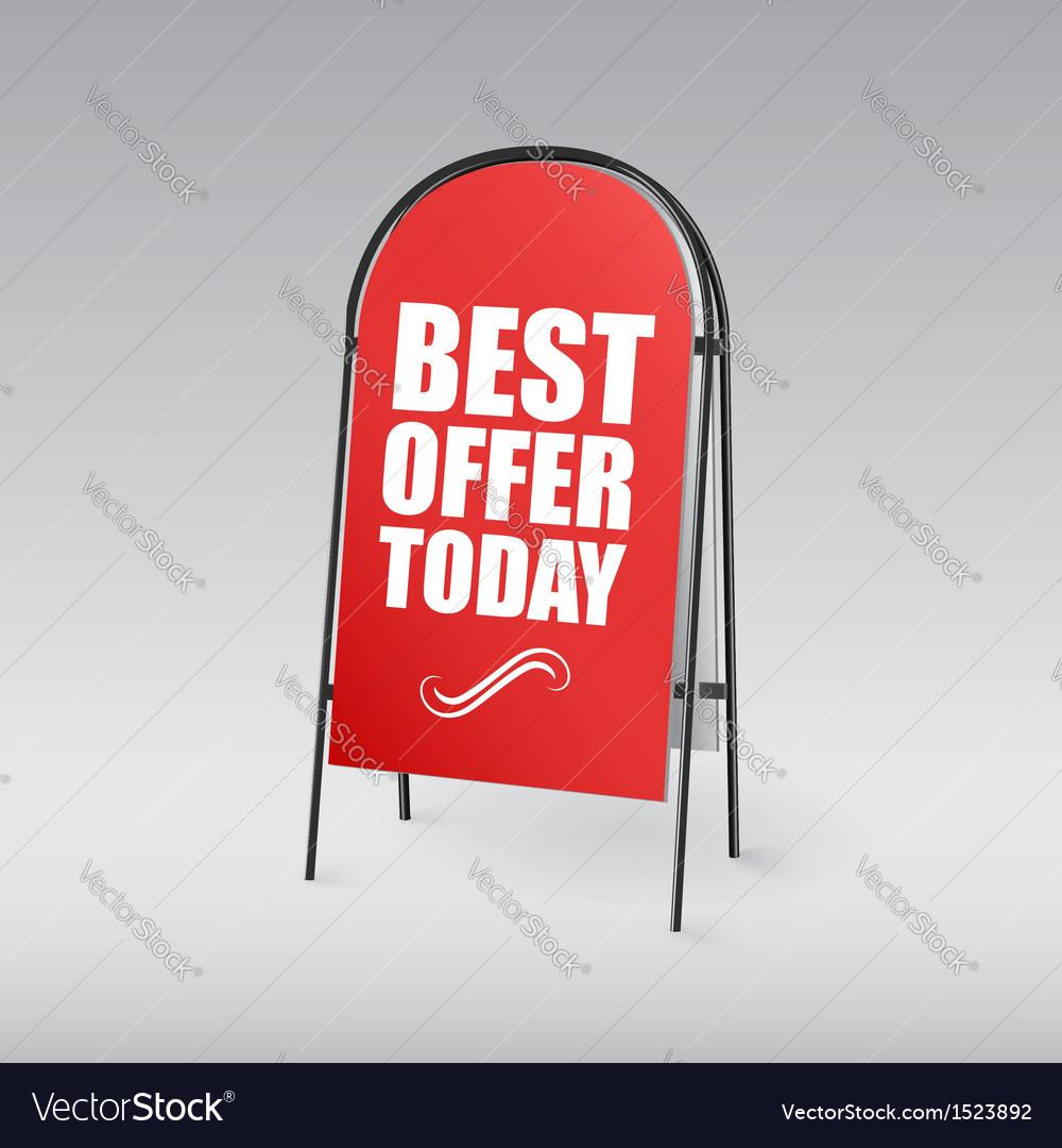 Sandwich board with an inscription Best offer