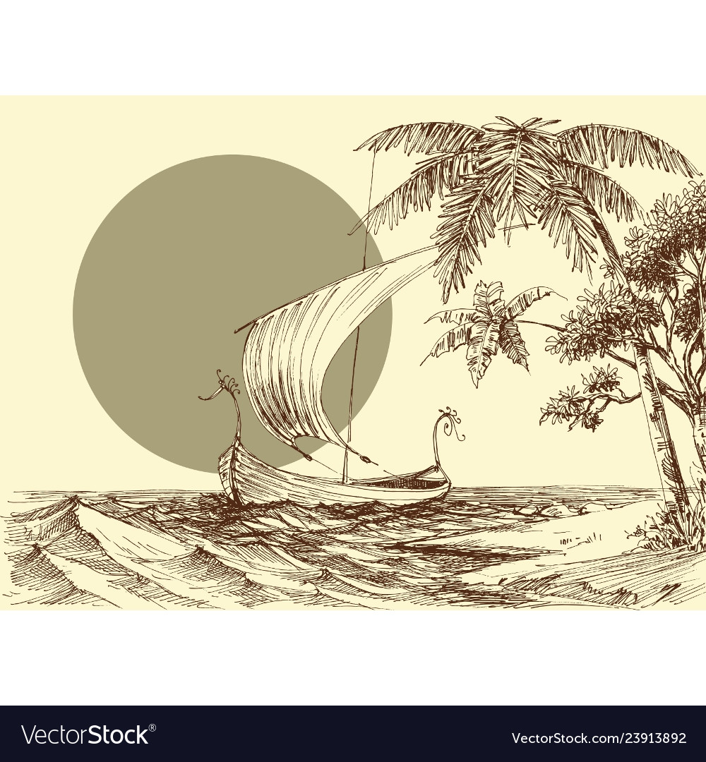 Sea scene a boat on waves and palm trees on the