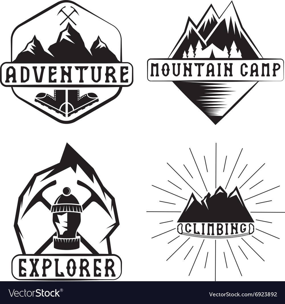 Set of vintage labels mountain adventure and