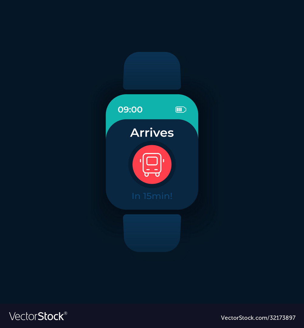 Bus Arrival Smartwatch Interface Template Vector Image