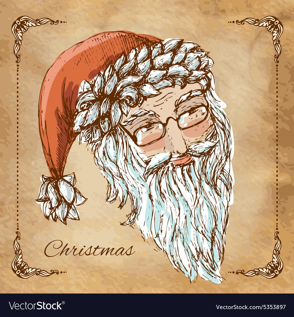 Christmas hand drawn retro postcard with cute