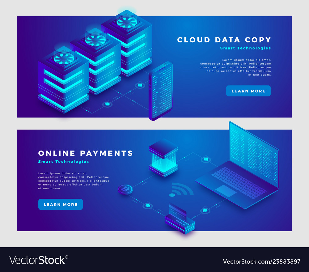 Cloud data copy and online payments concept banner vector