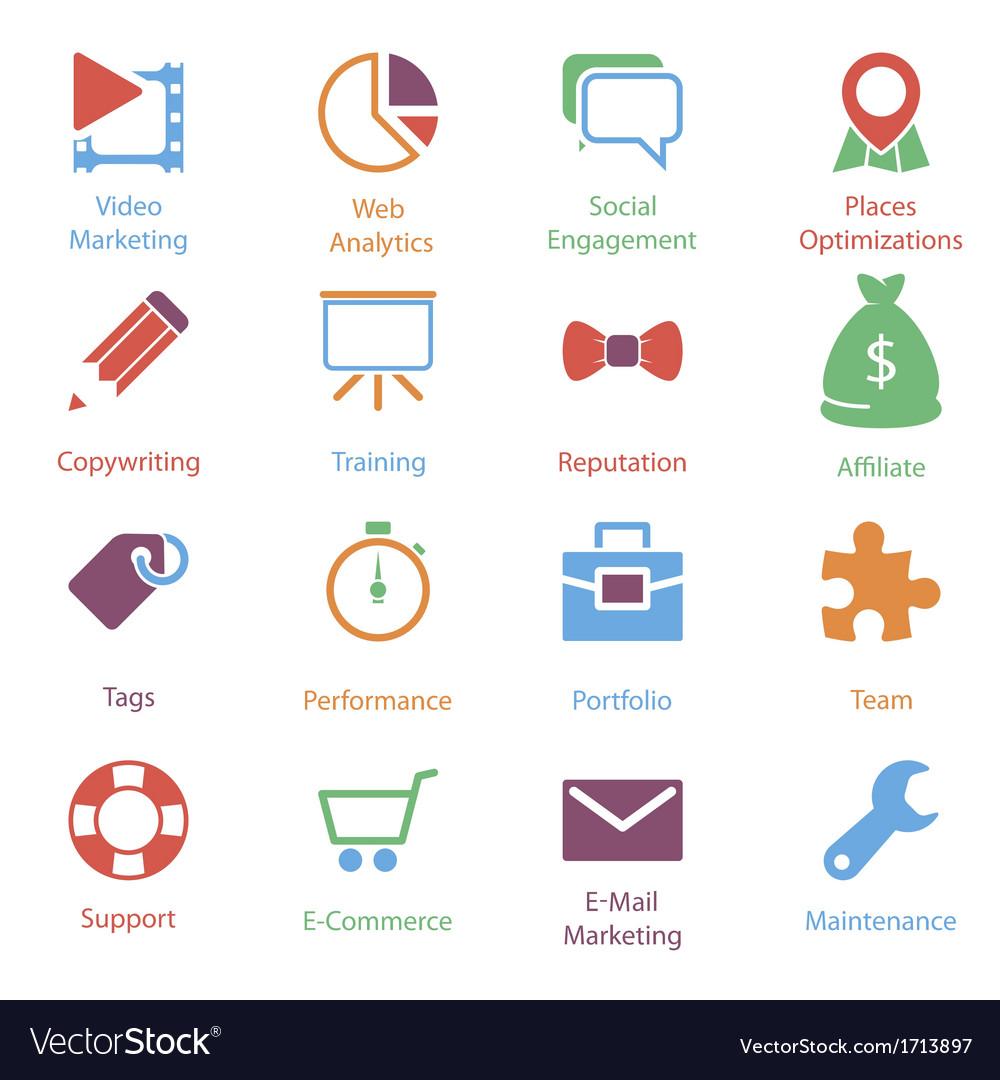 Color internet marketing icons vol 2 Royalty Free Vector