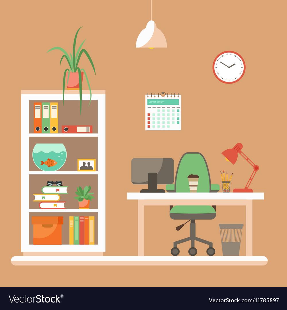 Colorful office desk closeup concept