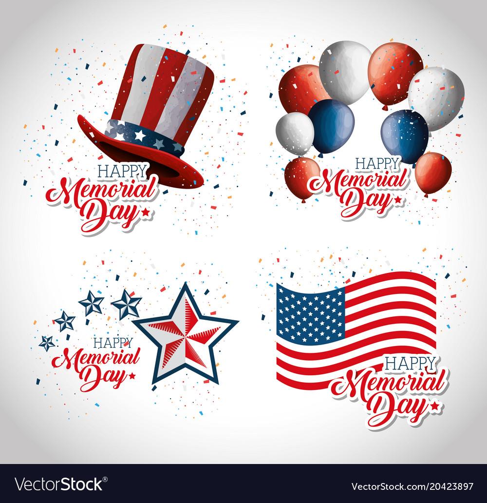 happy memorial day celebration set flyers vector image