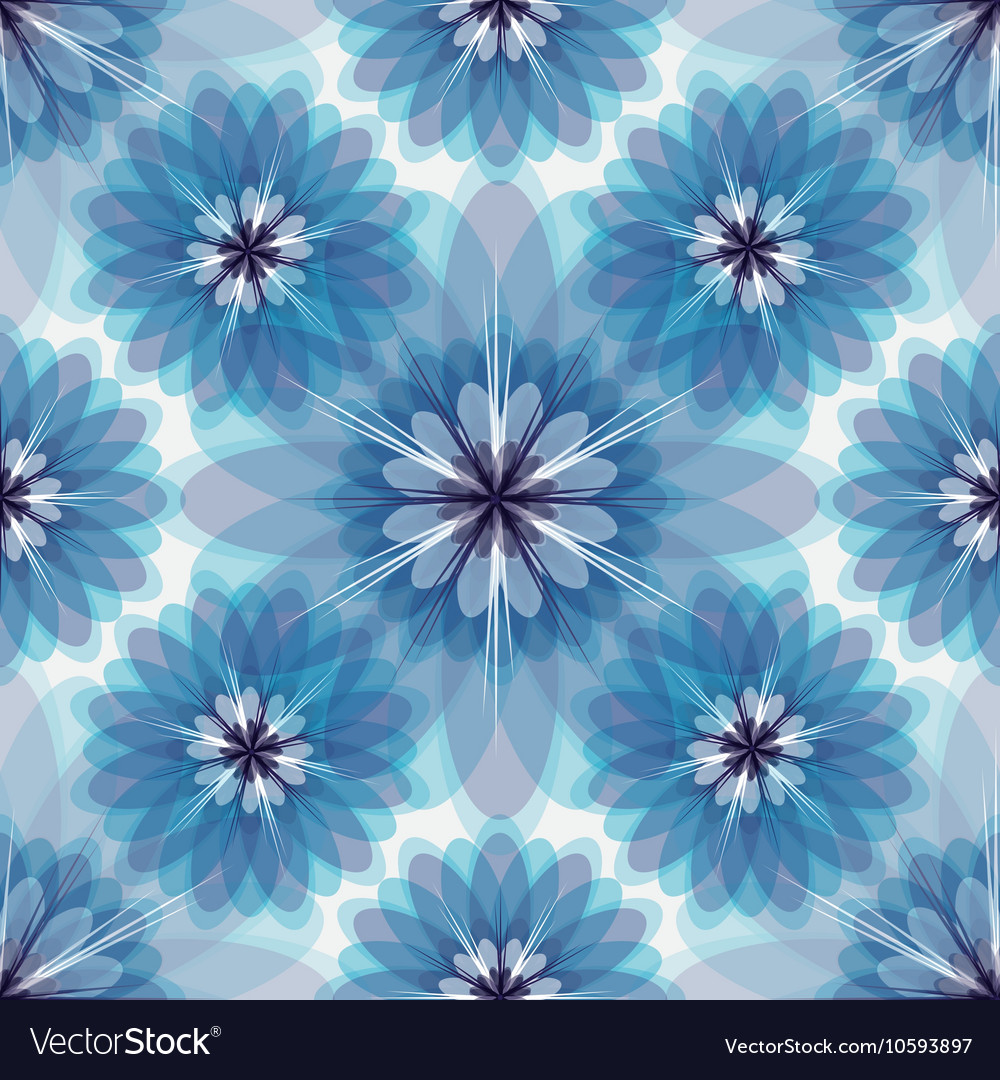 Repeating white-grey-blue floral pattern vector image