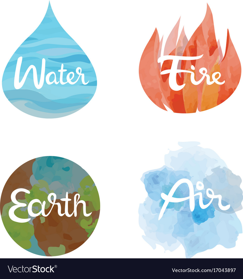 Set of the four nature elements icons