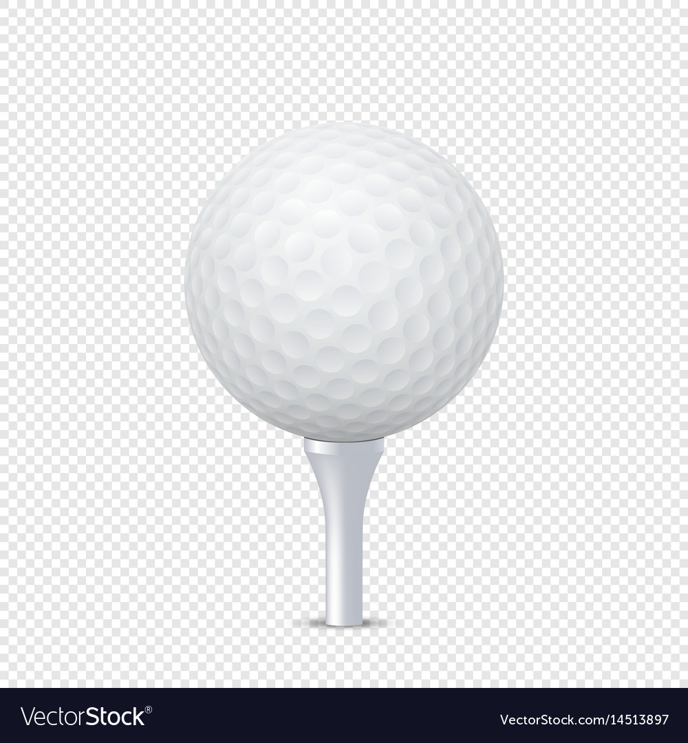 76ecc8d1 White realistic golf ball template on tee Vector Image