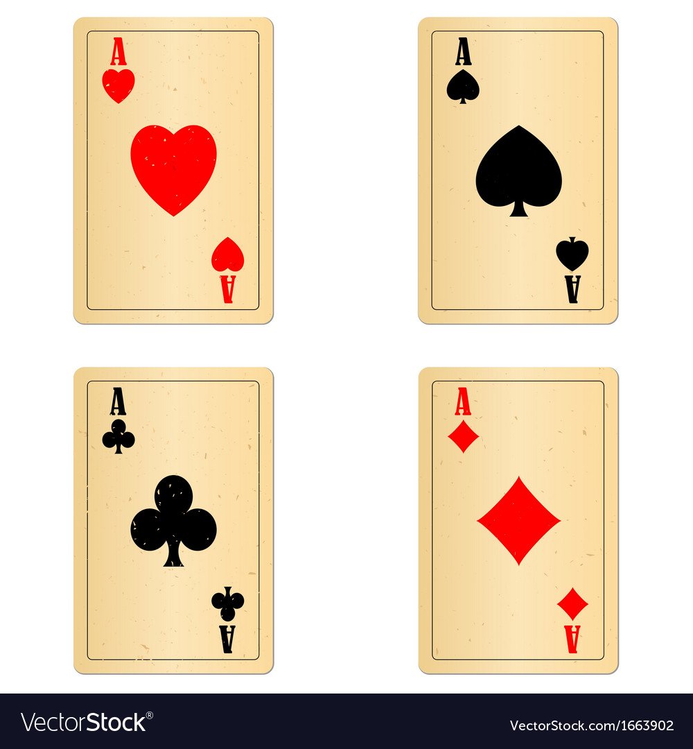 Blank old play cards four aces