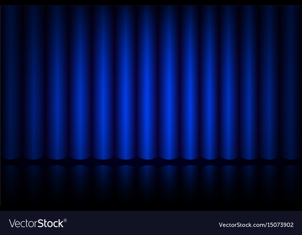 Blue curtain on stage in the theater