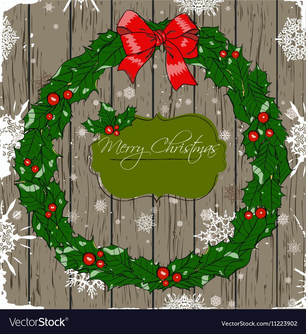 Christmas card with wreath