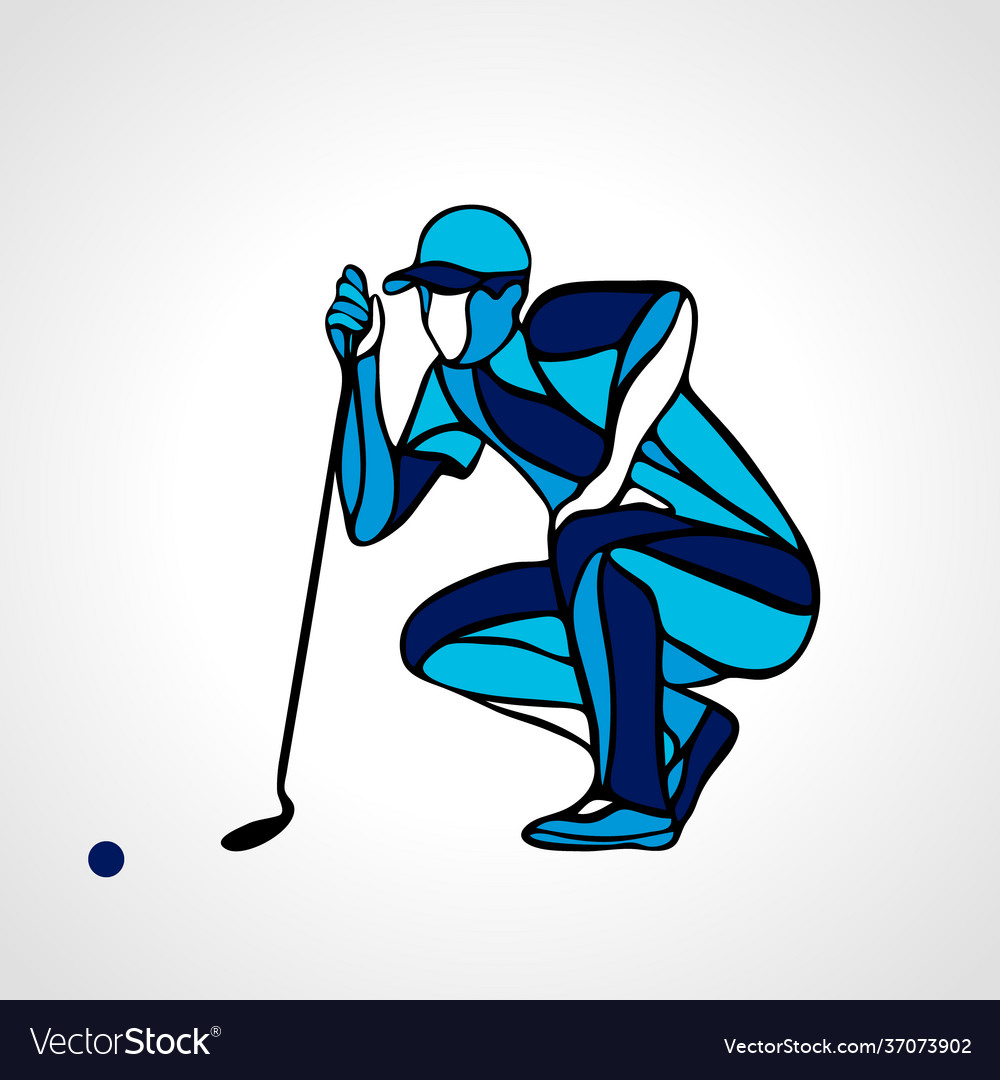 Creative abstract silhouette golf player