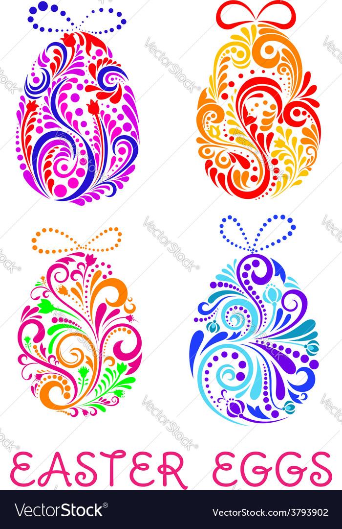Floral decorative patterned Easter Eggs