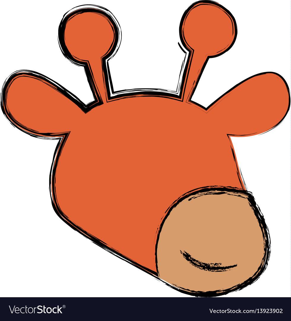 Giraffe cartoon head childish faceless