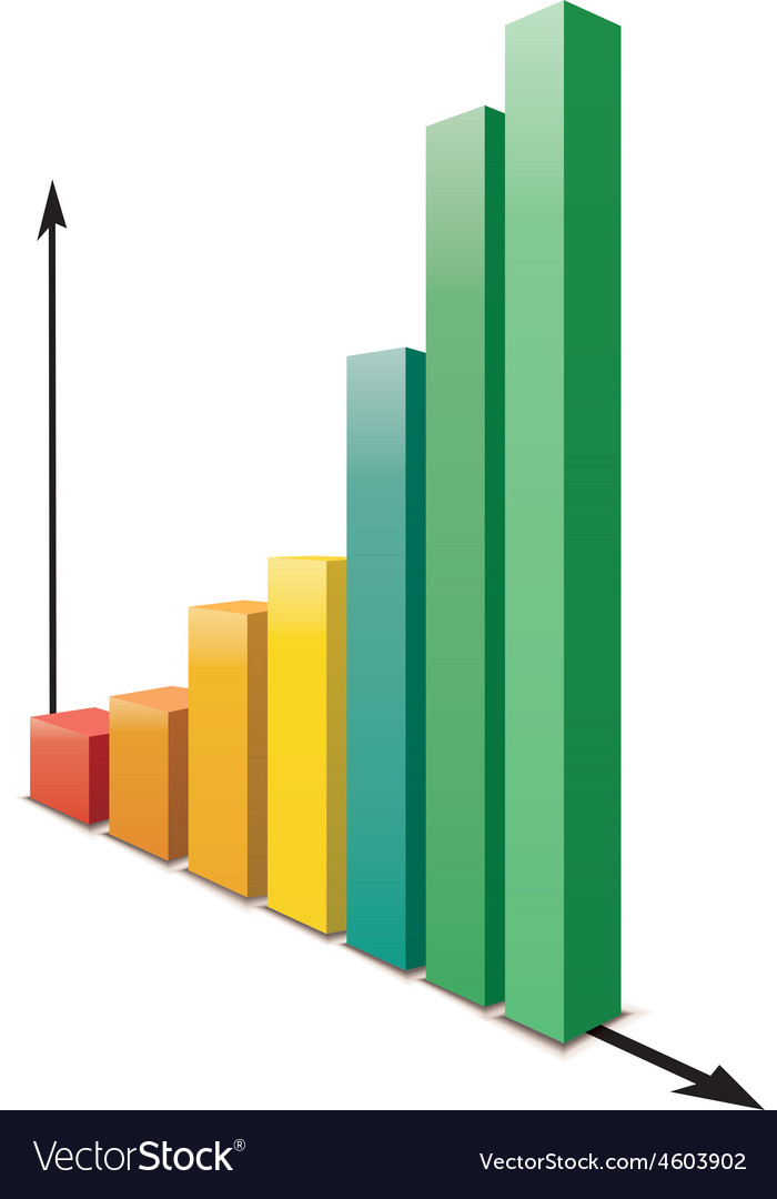 Glossy increasing graph isolated on white vector image