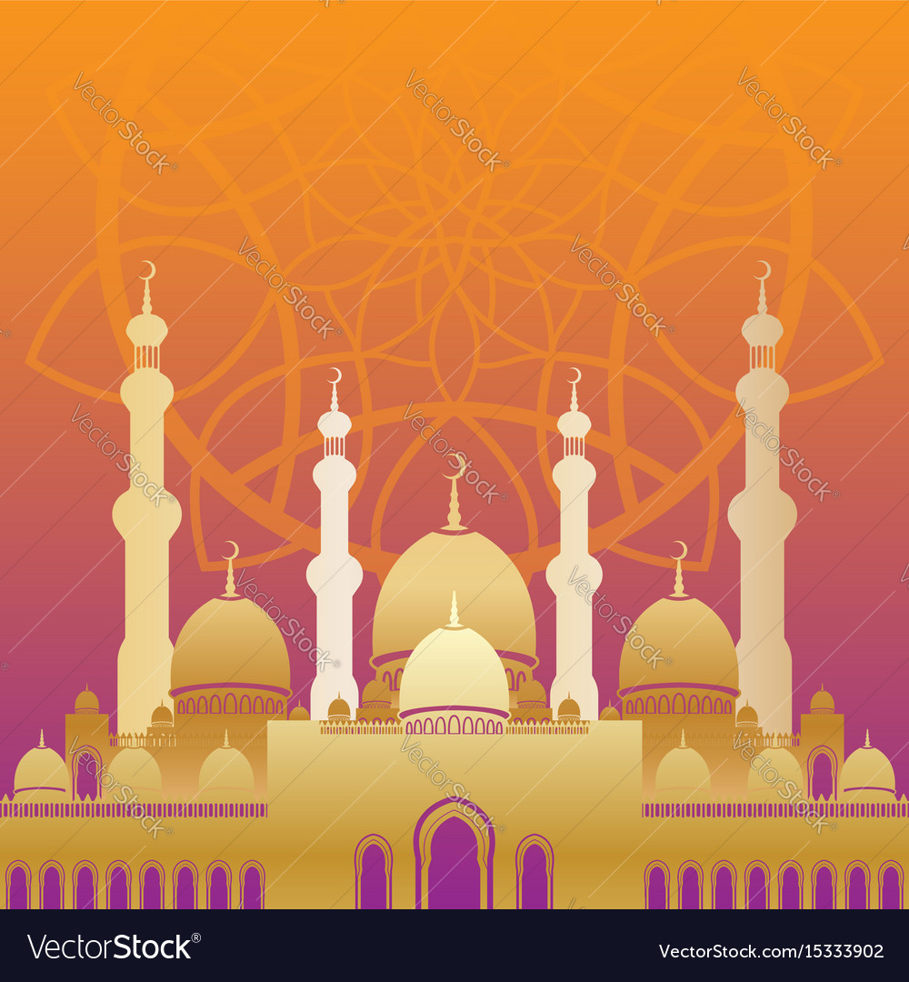 Golden mosque in flat style on colorful background