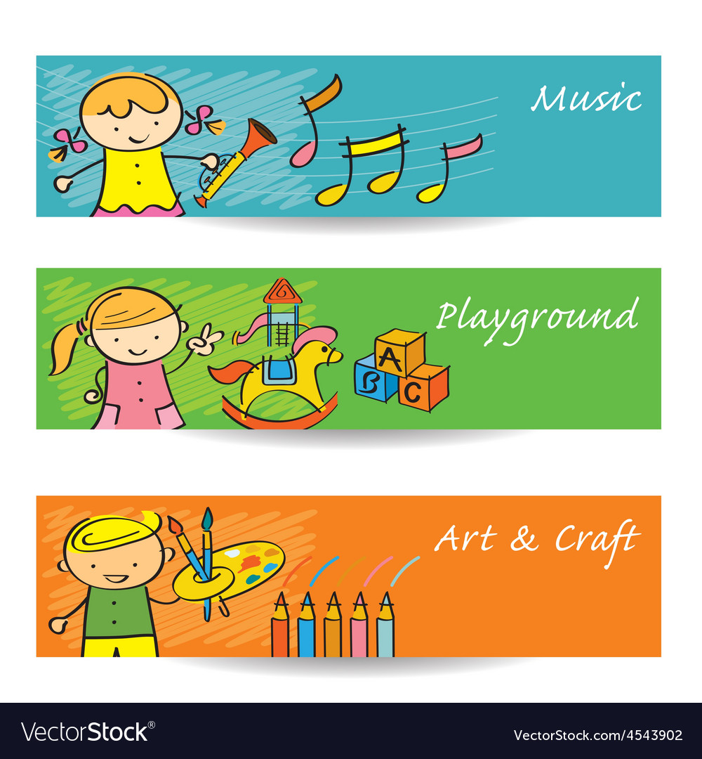 Kids Music Art Playground Banner Royalty Free Vector Image