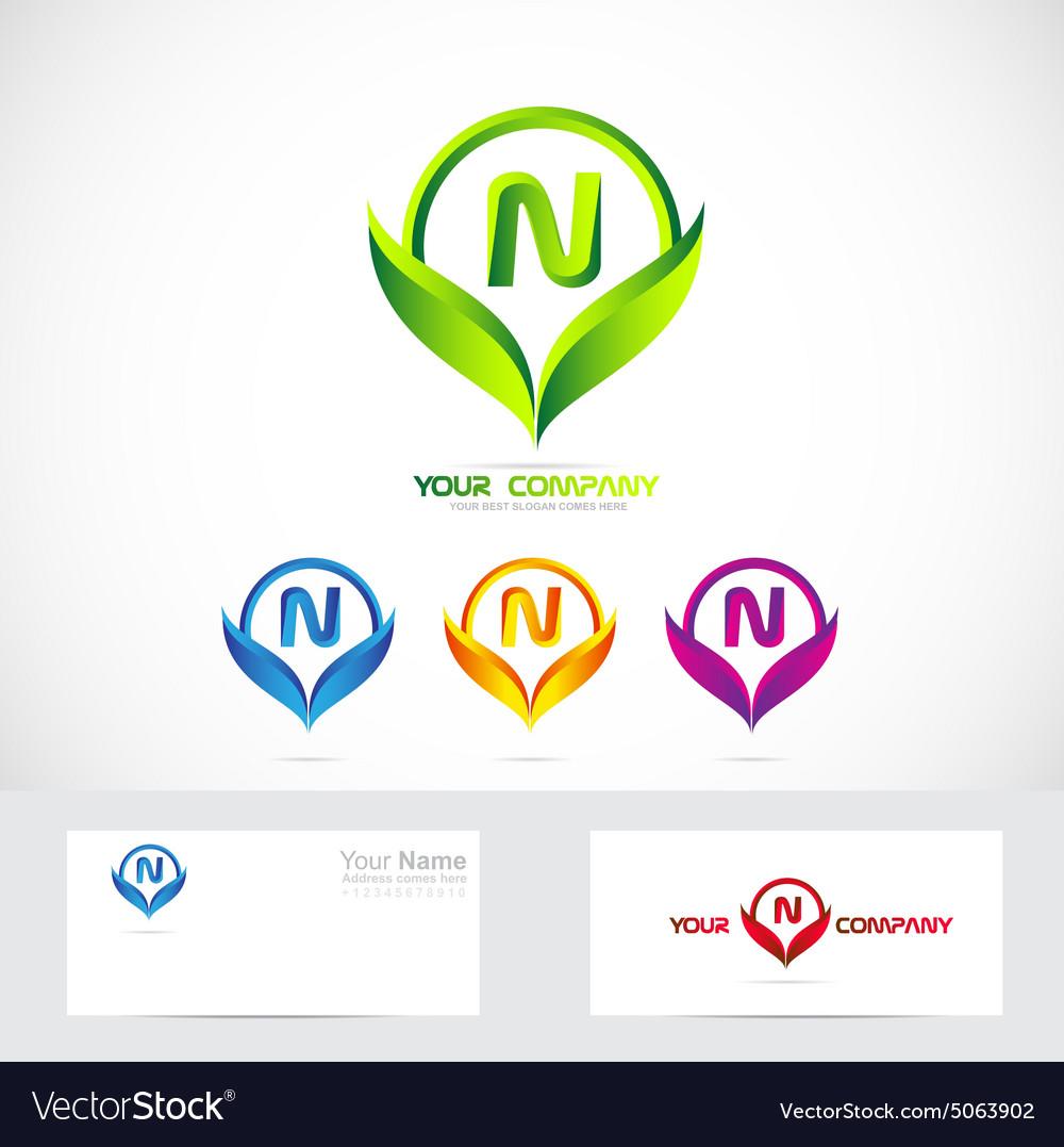 Letter N green leafs logo set