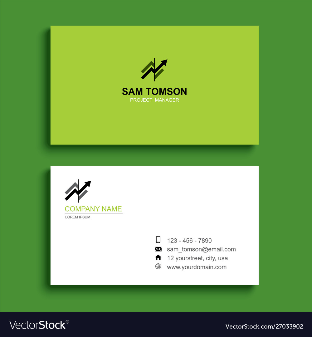 Minimal business card print template design green vector