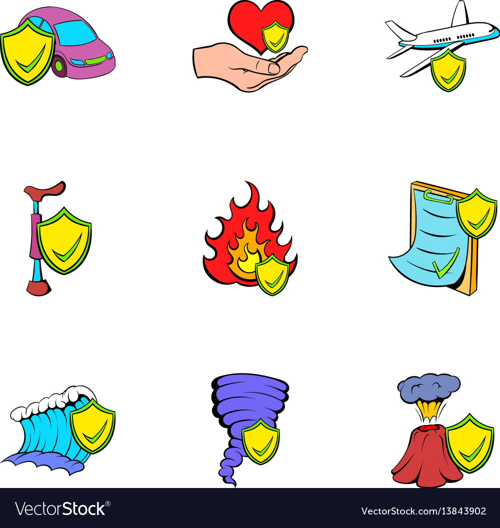 Misadventure icons set cartoon style vector image