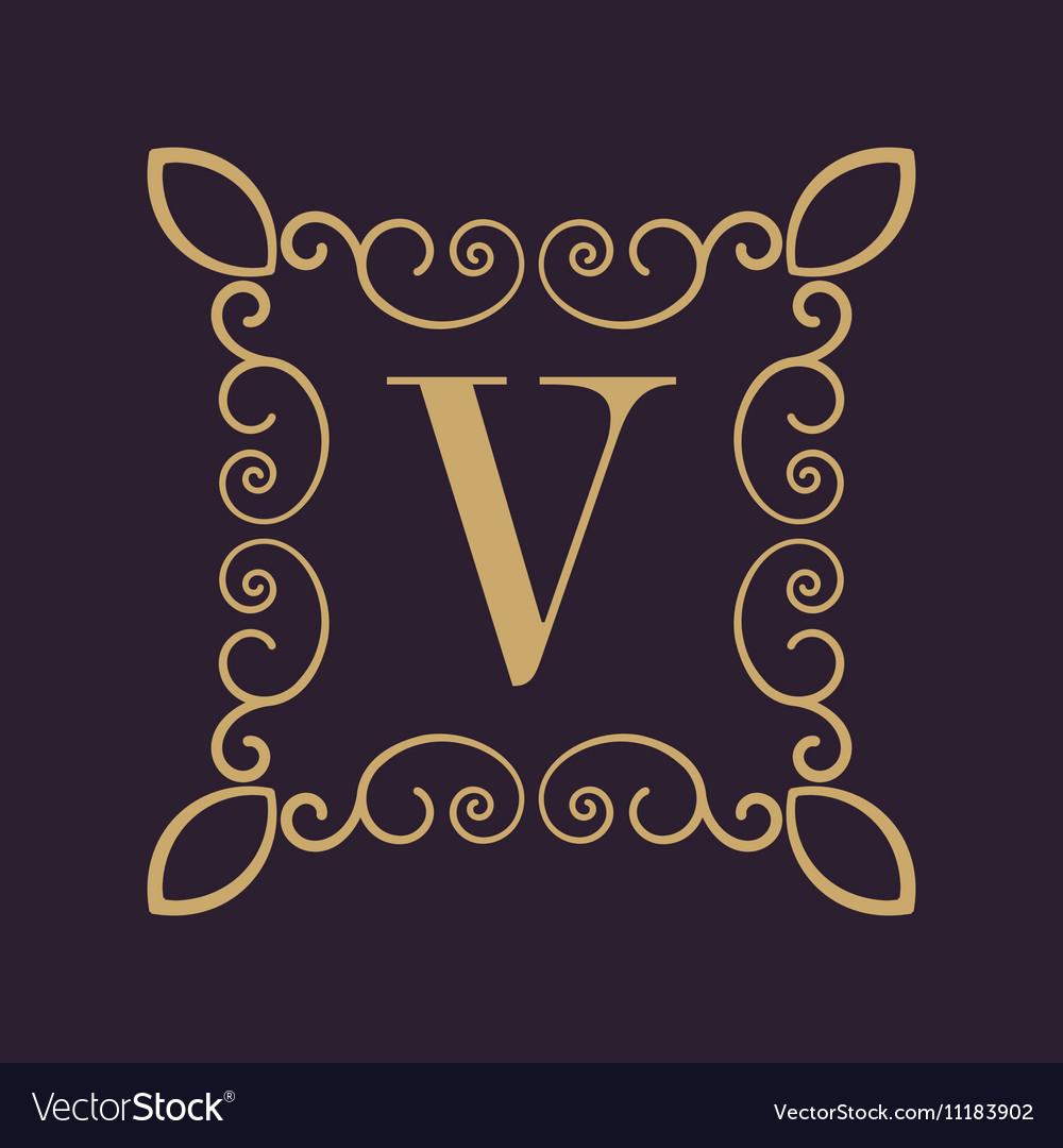Monogram letter V Calligraphic ornament Gold