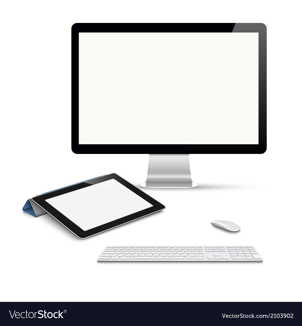 Realistic tablet computer monitor with keyboard