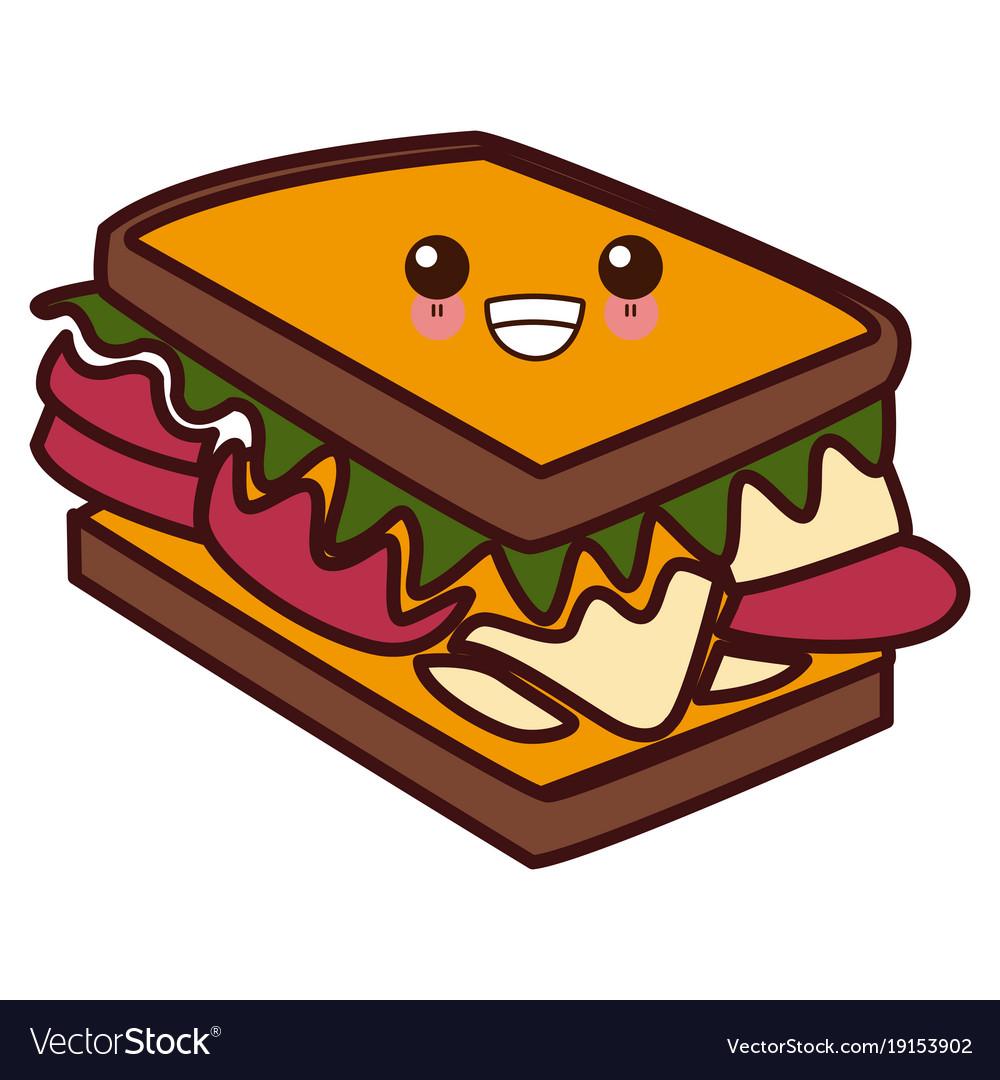 sandwich delicious food kawaii cute cartoon vector image vectorstock