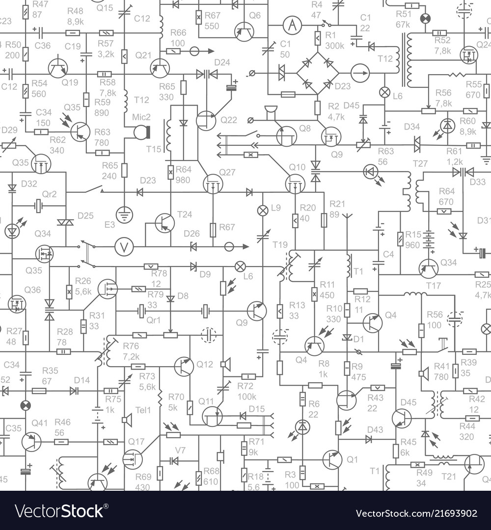 Seamless Background Of Electrical Circuit With Vector Image Drawing Electric Circuits