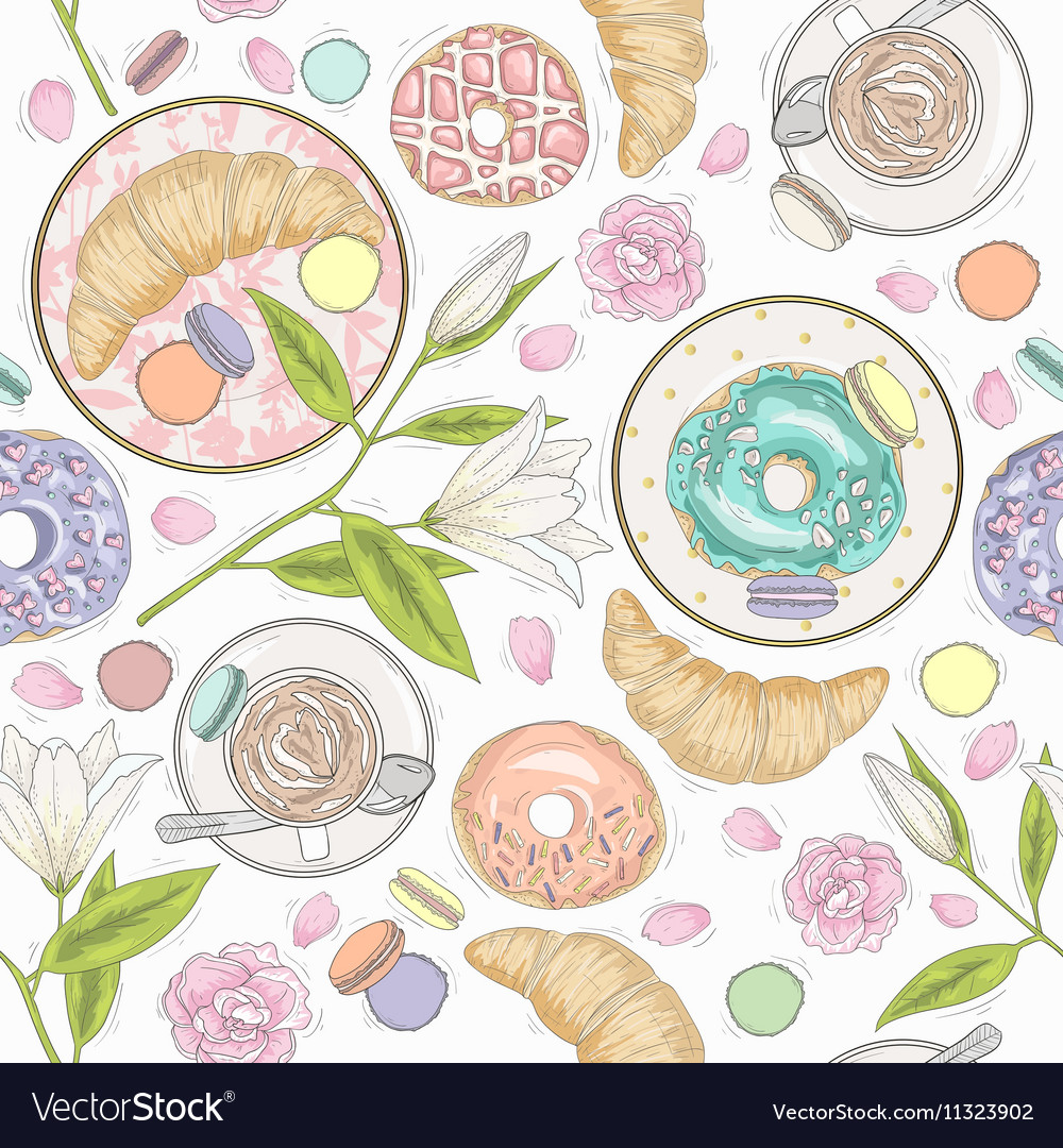 Seamless breakfast pattern flowers and coffee