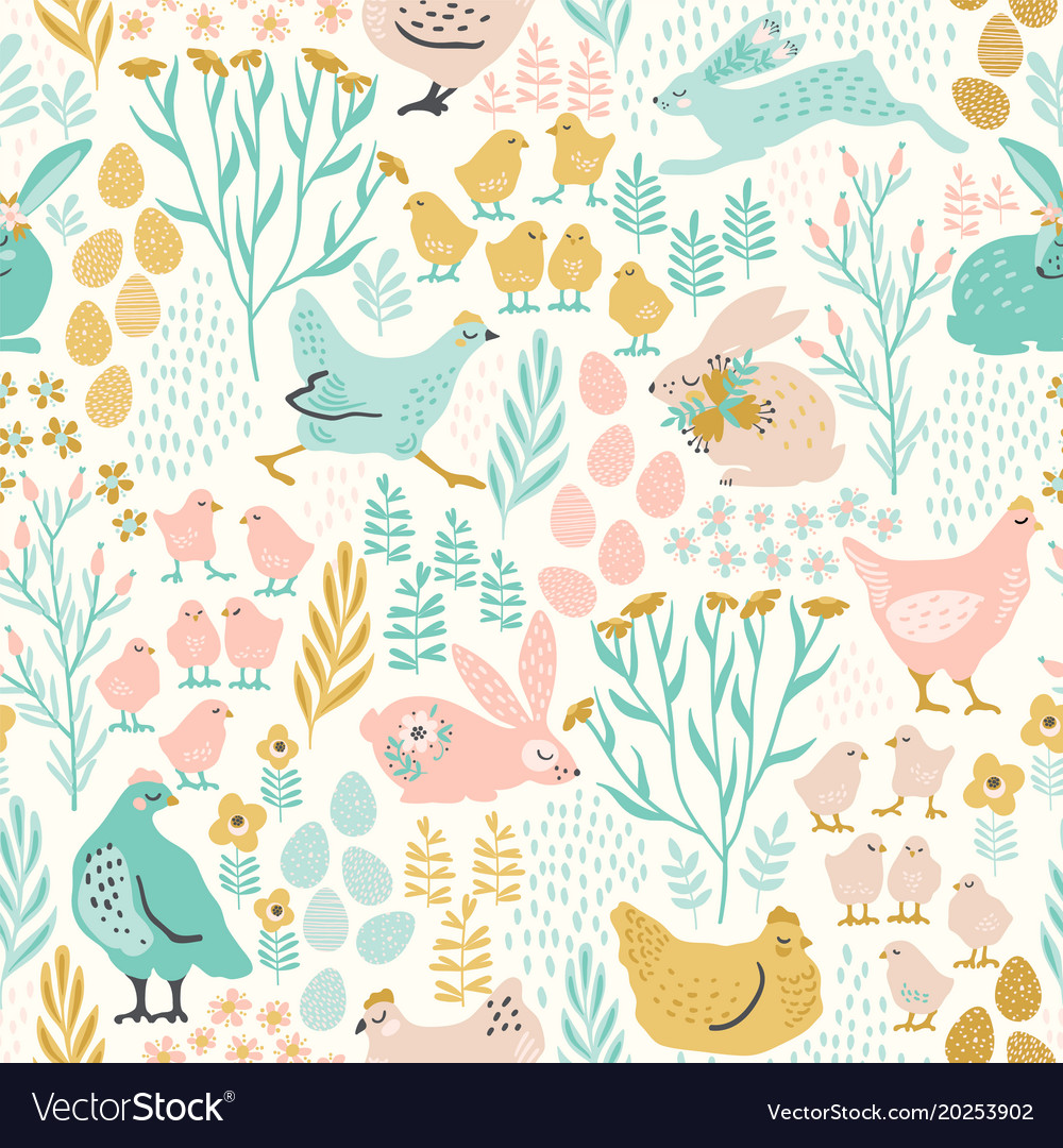 Seamless pattern with bunnies and chicken