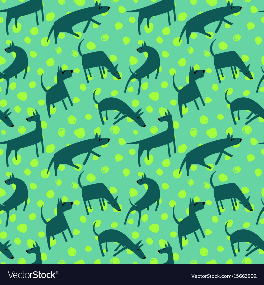 Seamless pattern with dogs simple style animals